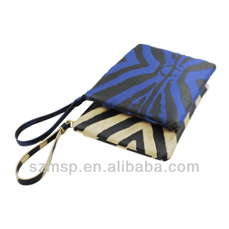 Zebra pattern genuine leather handle envelope file pouch/note case for i pad pc case