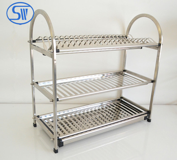 Made In China 3 Tier Kitchen Dish Rack Drainer Holder Stainless