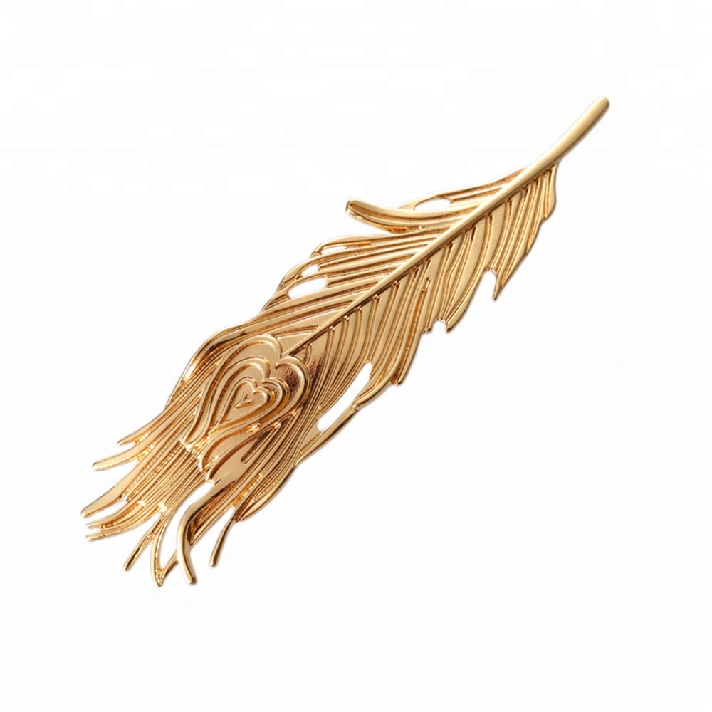 Wholesale peacock feather shaped big fix hair spring metal hair clip