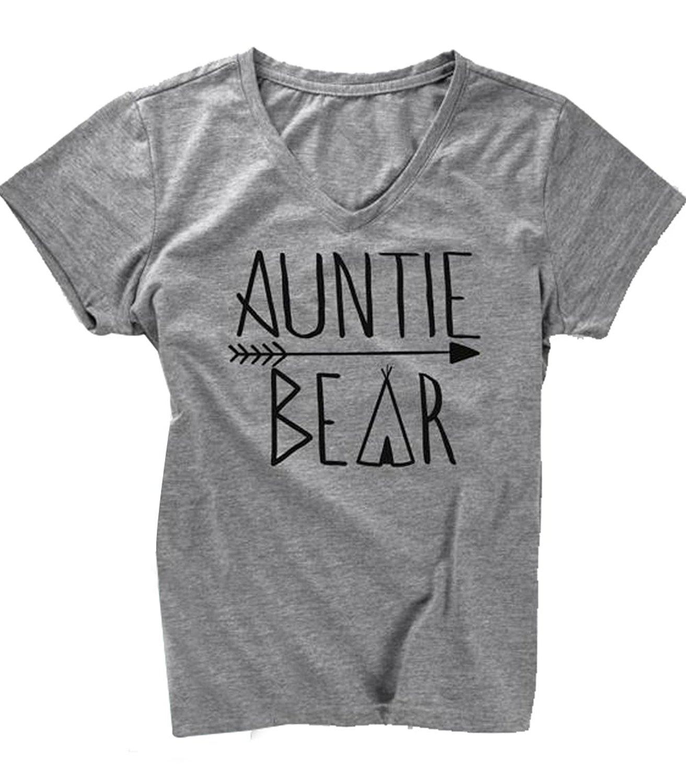47db7604 Get Quotations · UNIQUEONE Auntie Bear Print T-Shirt Women Letters Print  V-Neck Shirt Tee Mothers