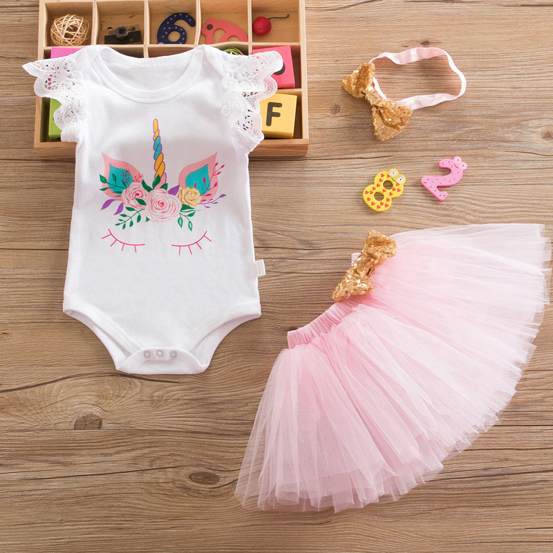 9abaaab78 Boutique 1 Year Birthday Dress Sets Baby Romper Skirts Headband ...