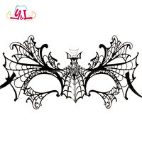 Metal Bat Shape Venetian Party Mask Rhinestones Black Spider Web Luxury Masquerade Mask