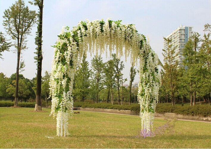 Gnw 7ft White Artifical Wedding Arch In Silk Rose And Hydrangea ...