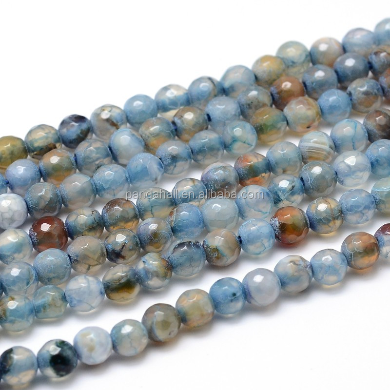 6mm Blue Faceted Round Dyed Natural Agate Ball Beads Strands