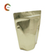 Gold aluminum foil zipper stand up pouch with front window