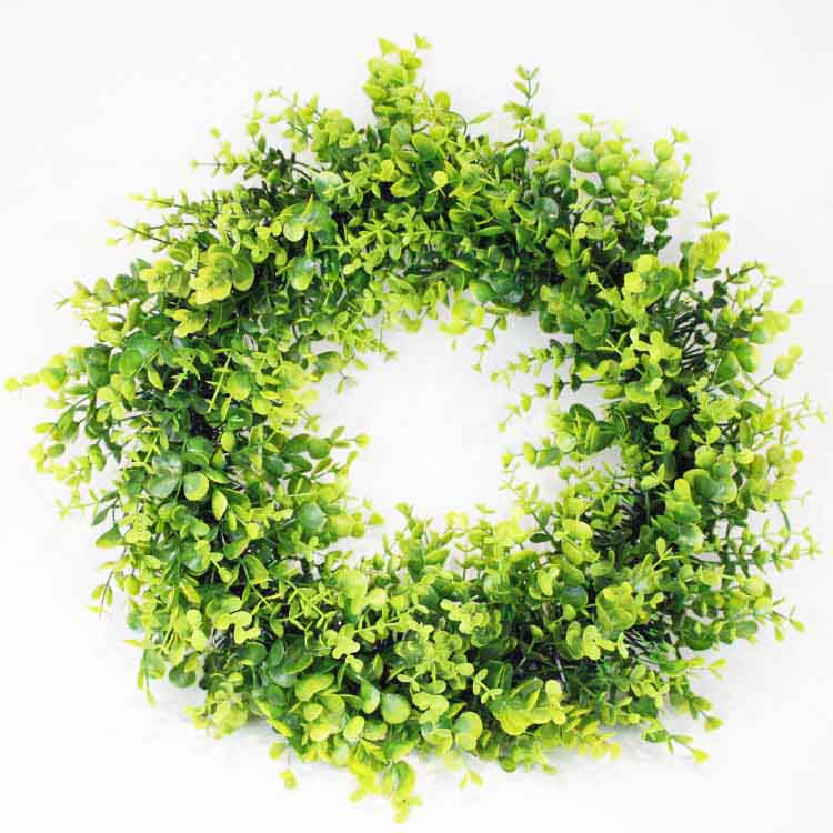 Door Hanging Wall Window and Holiday Wedding Decor Artificial green leaves Christmas Boxwood wreath with hanging ribbon
