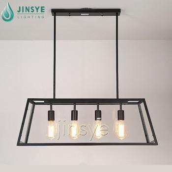 modern design trapezoid/rectangle black iron cage large long metal hanging  lamp industrial kitchen light, View industrial kitchen light, JINSYE ...