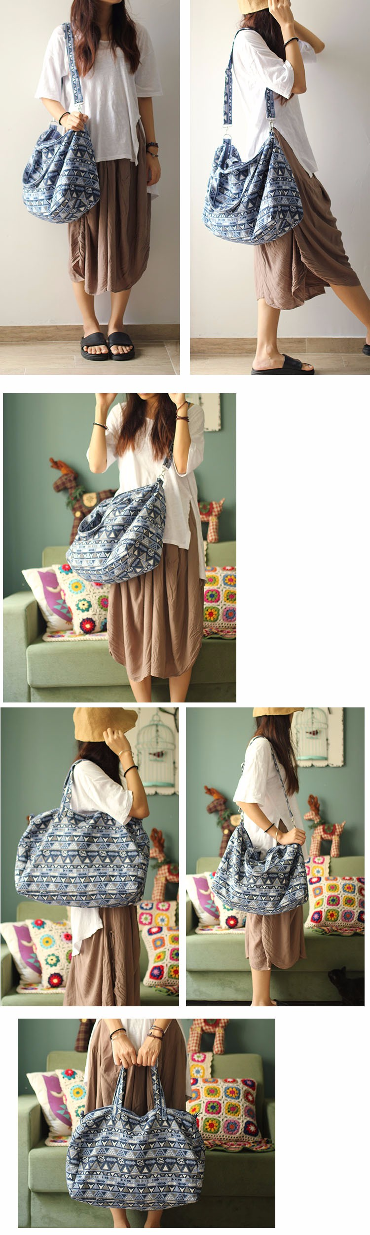 Canvas Leather Trim Travel Tote Duffel shoulder handbag Weekend Bag (6)