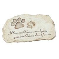 Polyresin paw print pet memorial step stone plaque