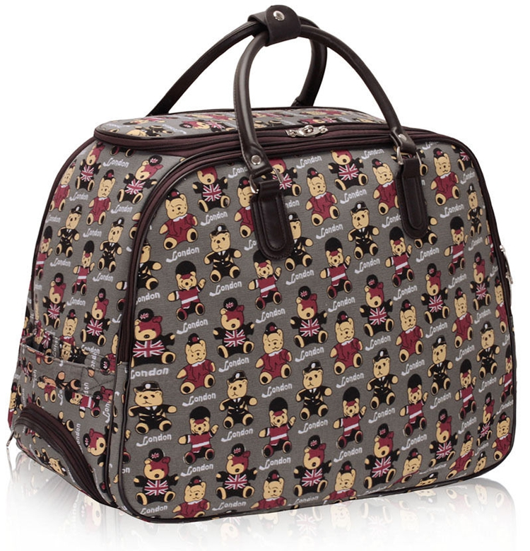 2016 newest fashion teddy bear print travel luggage duffel bag