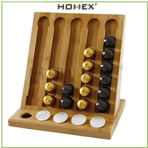 Modern Bamboo Coffee Pod Holder /45-Pod Coffee Organizer Rack K-cup Pods 45 Cup Counter Storage Rack Holder/Homex