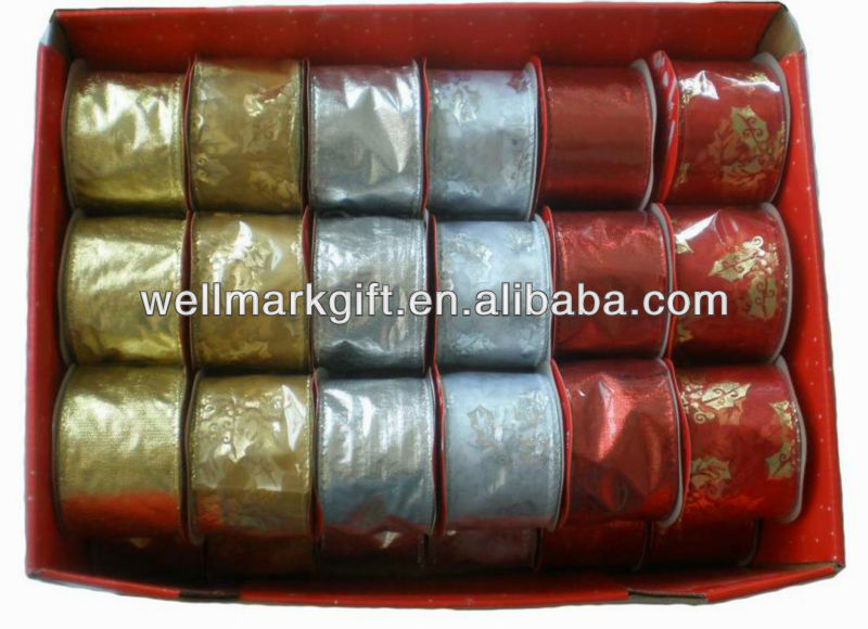 Christmas Gift Wrapping Decorative Metallic  Fabric Woven Wire Trim Ribbon