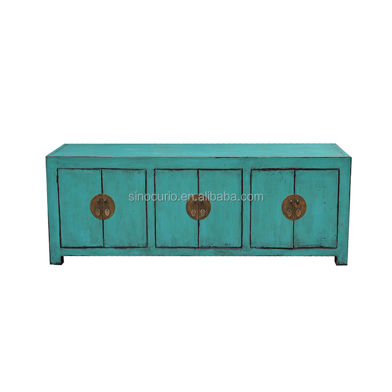 Old China ancient vintage furniture cabinet living room green sideboard buffet table