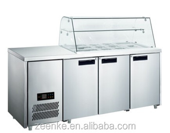 Commercial Stainless Steel Salad Counter Fridge Pizza Worktable - Commercial prep table refrigerator
