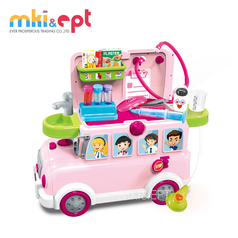 Top sale kitchen toy play set plastic toy fast food bus