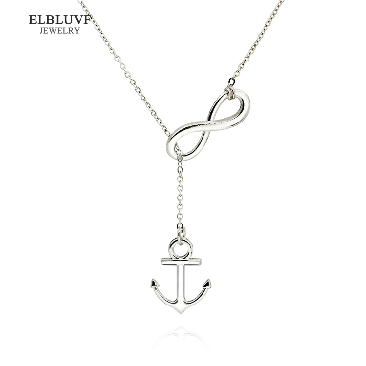 ELBLUVF Alloy <strong>Silver</strong> Plated Handmade Anchor and Infinity Lariat Y Necklace