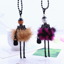 Europe and the United States big national wind creative natural mink doll hair Necklace autumn and winter women sweater sweater