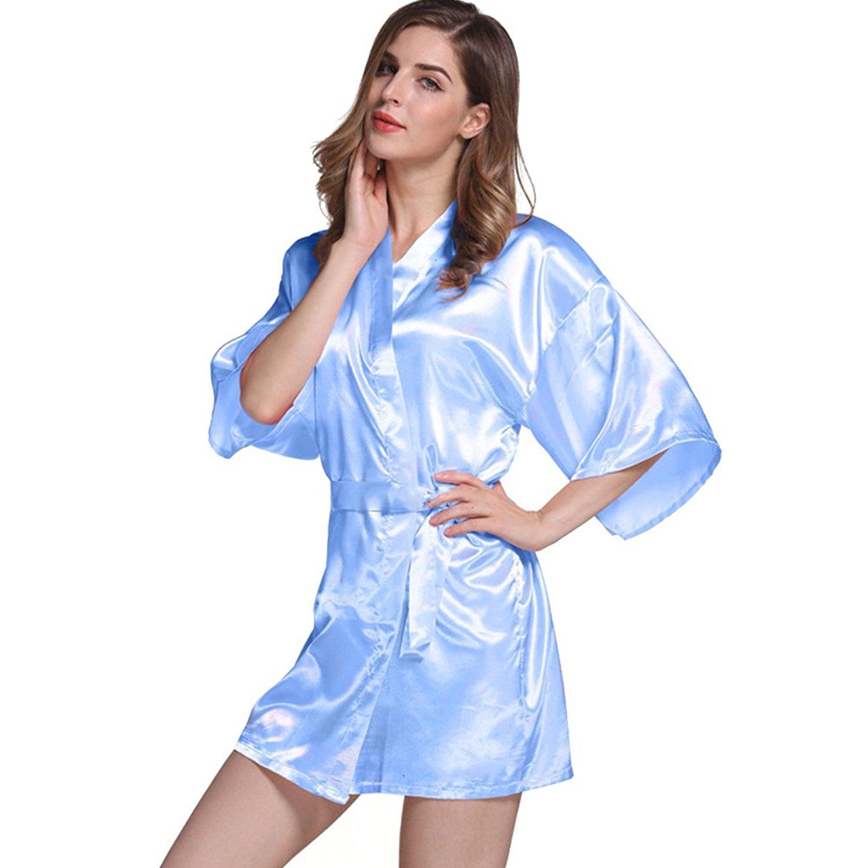 Get Quotations · Amurleopard Womens Kimono Robe Knee Length Bridal Lingerie  Sleepwear Pure Colour Short Satin Robe Light Blue b5d932b82