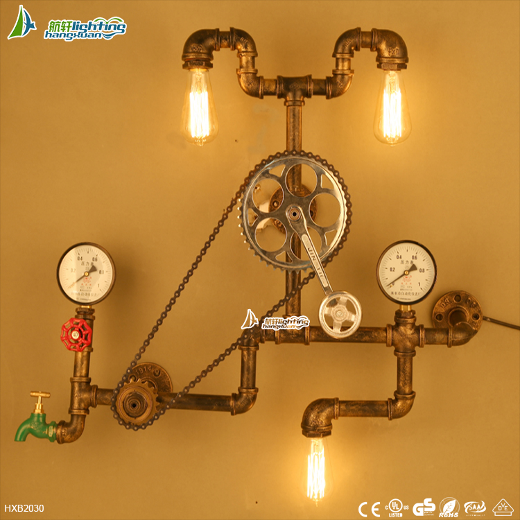 Nostalgic Iron balcony decoration pipe wall <strong>lamp</strong> ,personality gear corridor wall Light