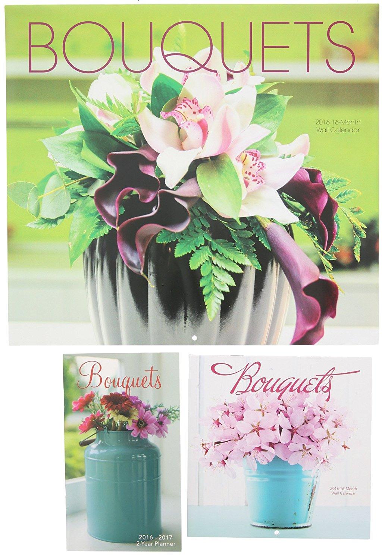 2016 Flower Bouquets Wall Calendar, Mini Calendar, and 2-Year Planner