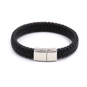Cheap Price Knitted Leather Stainless Steel Metal Parts Leather Wristbands Bracelet, Cool Bracelets For Men