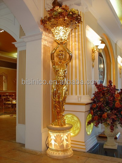 24k Gold Plated Brass Lady Holding Floor Lamp,Life Size Sculpture ...