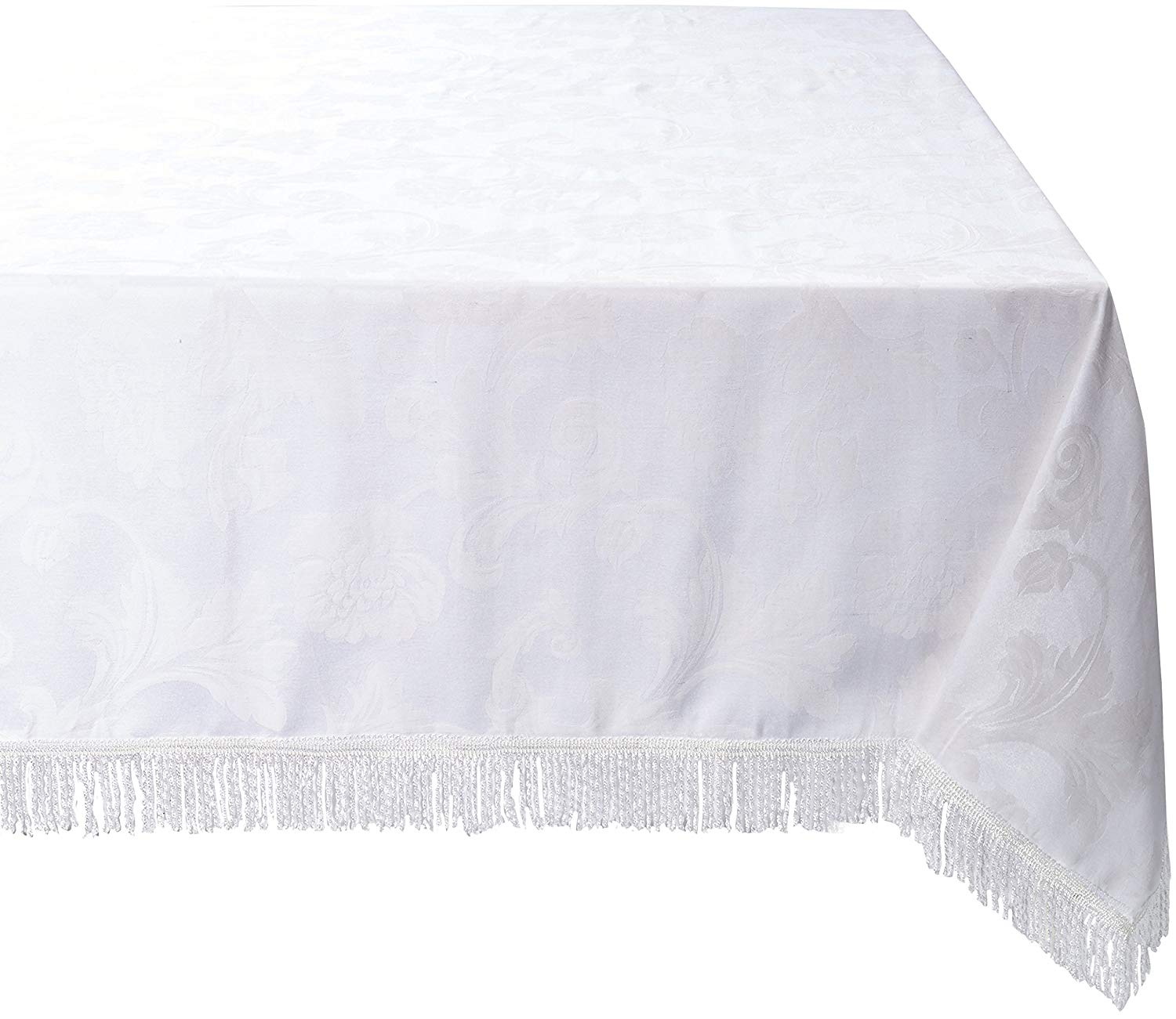 "Violet Linen Classic Damask Design Fringes Oblong/Rectangle Tablecloth, 60"" x 102"", White"