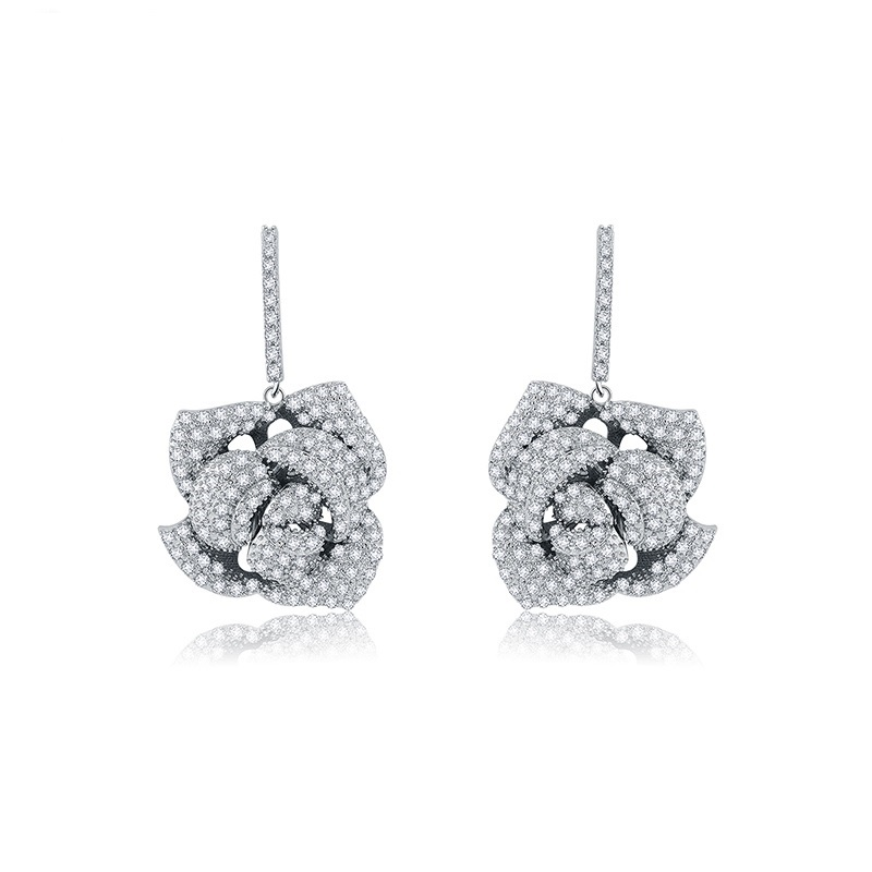 LUOTEEMI Luxury Jewelry White Gold Plated AAA Grade Cubic Zircon Big Rose Flower Exaggerated CZ Wedding Drop Earrings Fashion