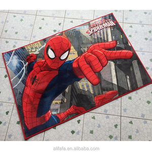 heat transfer printed short microfiber floor mat, spider man mat for USA Wal mart