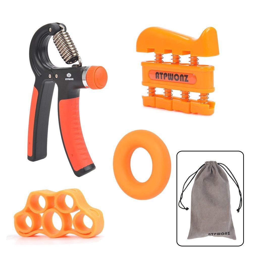ATPWONZ Hand Grip Strengthener Exerciser Kit (4 PACK) - Adjustable Hand Grip Resistance Range of 22-88lbs, Finger Excerser, Finger Stretcher & Exercise Ring for Athletes, Musicians, Kids & Adults