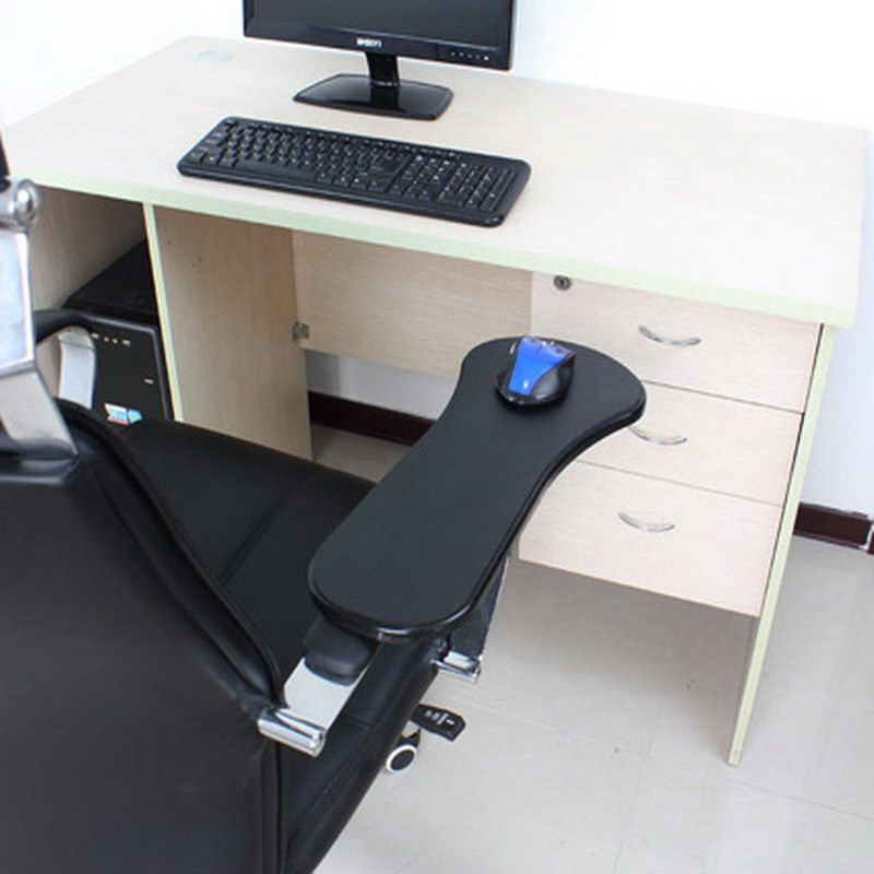 The desk and chair are two computer hands to shoulder
