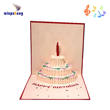 Laser Cut 3d Stand Up Birthday Cake Pop Up Greeting Card Buy Pop
