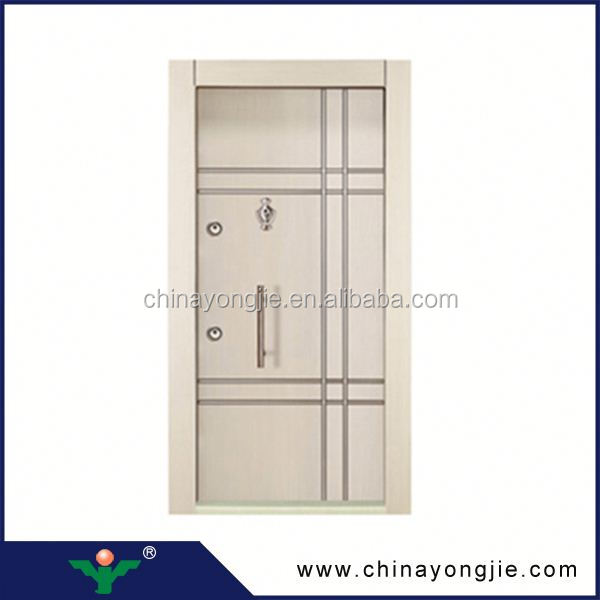 Yongkang manufacture steel threshold carving wood grain elegant metal mother son door