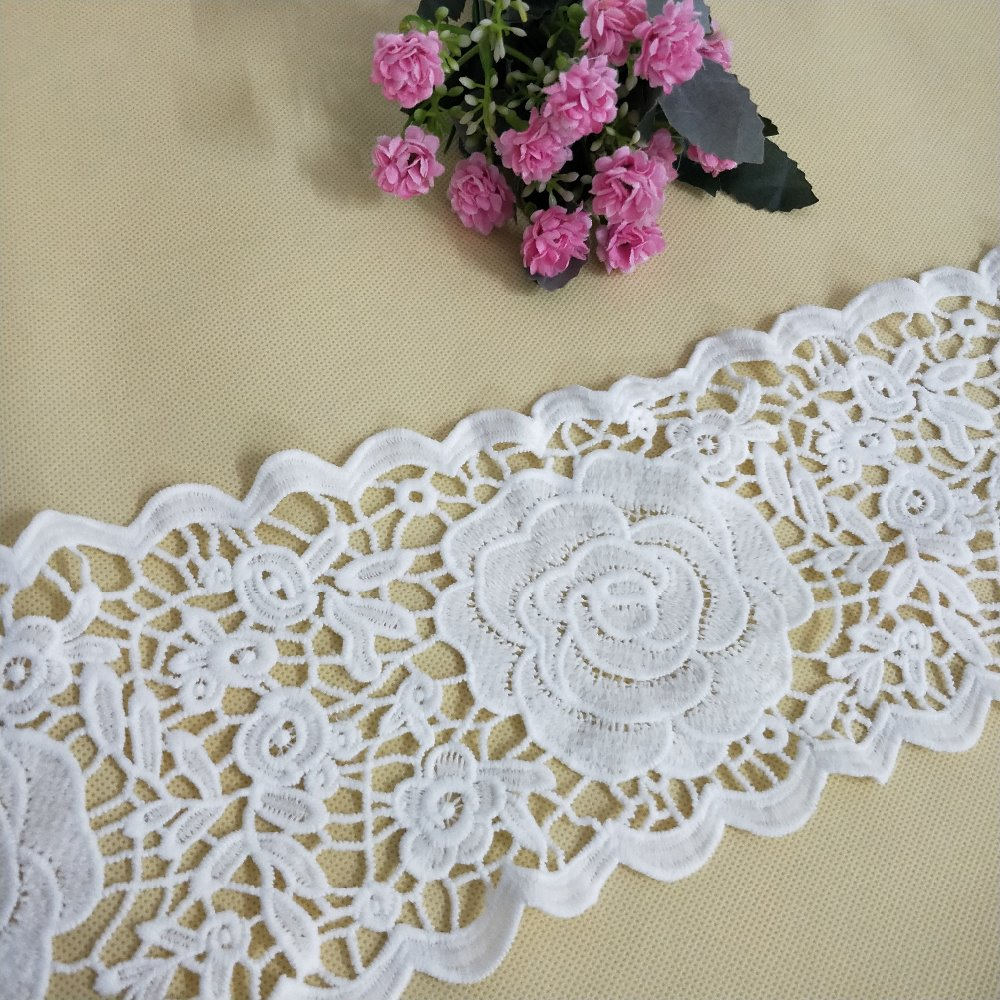 2018 fancy embroidered africa lace flower design border lace trim guangzhou wholesale
