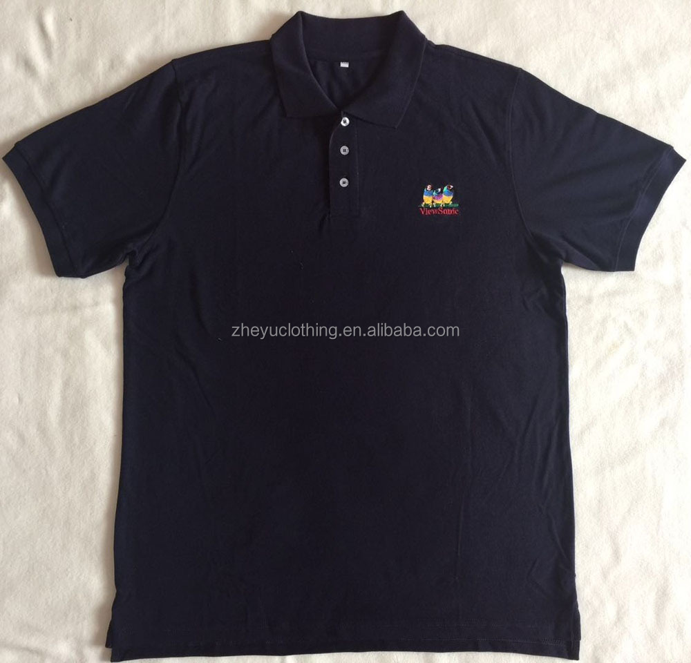 Cheap promotional 210gsm 100%cotton navy blue/dark blue polo shirts