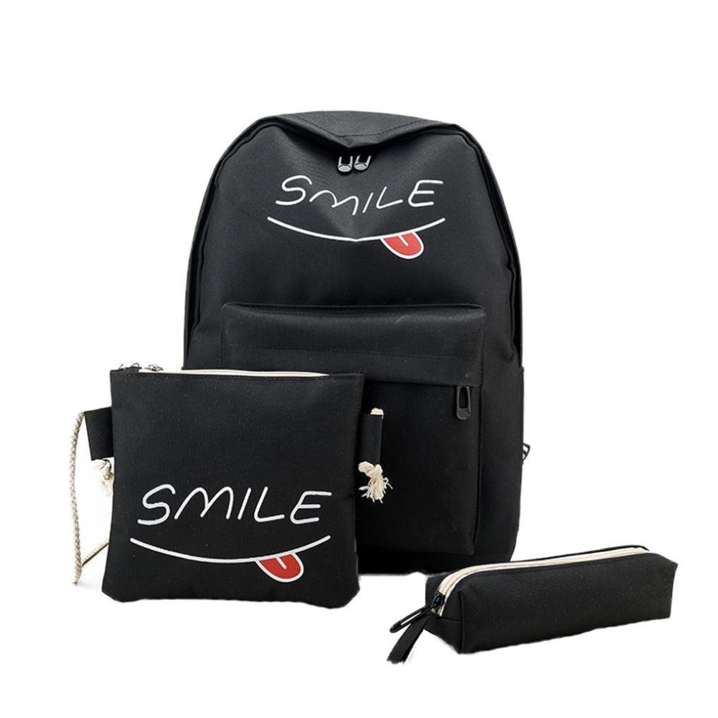 Smile Backpack,Hongxin 3 Sets Women Girl Travel Backpack,School Bag + Shoulder Bag + Handbag (black)