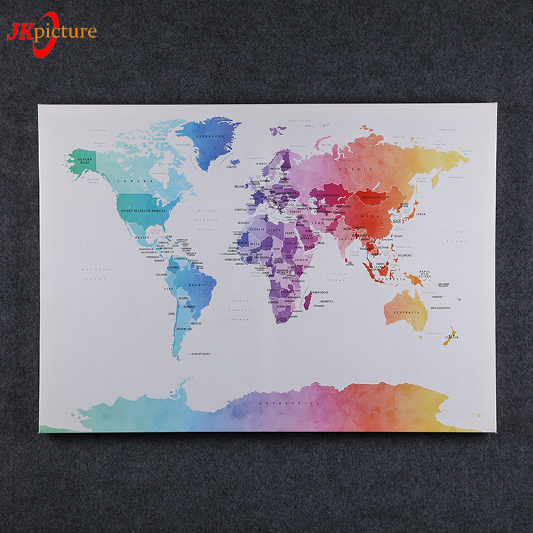 Color Digital Print World Map Canvas Wall Art Painting On Canvas