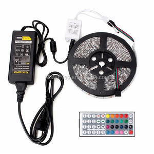 Remote Control Led Strip Lights Waterproof 16.4ft 300 LEDs SMD3528 Color Changing RGB Kit with 44Key Remote +12V 5A Power Supply