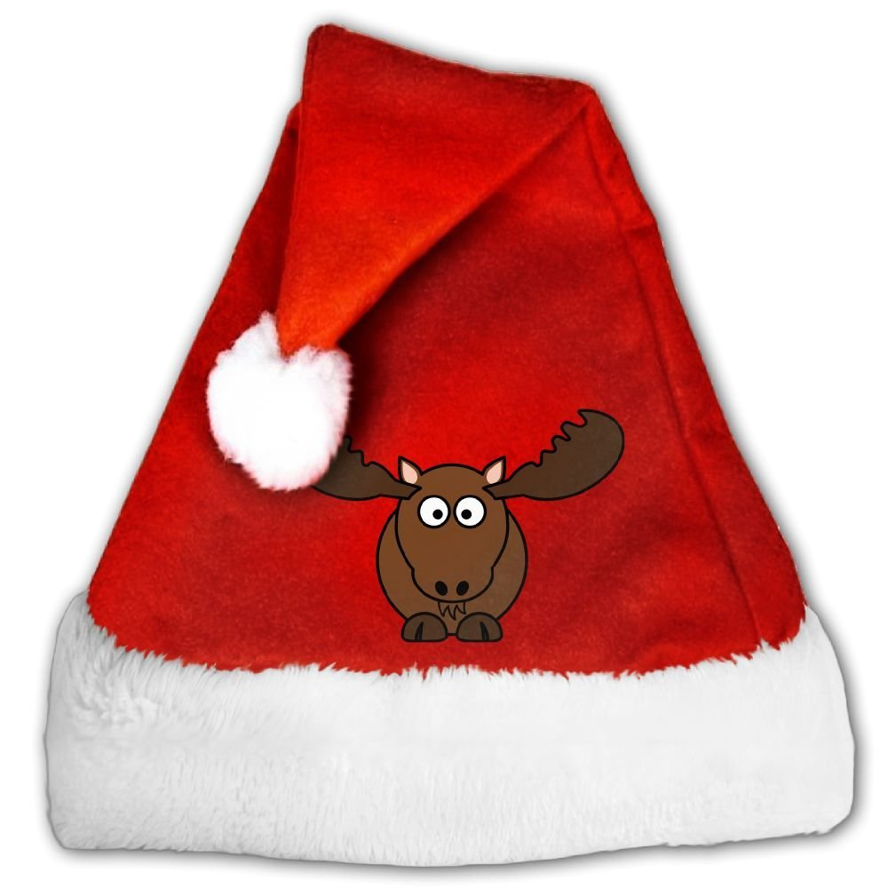 8edf87fe6ec Get Quotations · Cartoon Moose Traditional Red Holiday Theme Christmas  Santa Hats For Adults And Children Christmas Party