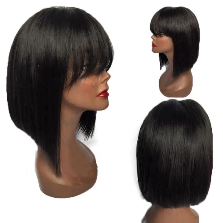 <strong>Cheap</strong> Price Wholesale Supplier Straight Bob <strong>Human</strong> <strong>Hair</strong> <strong>Lace</strong> <strong>Front</strong> <strong>Wigs</strong> With Bang