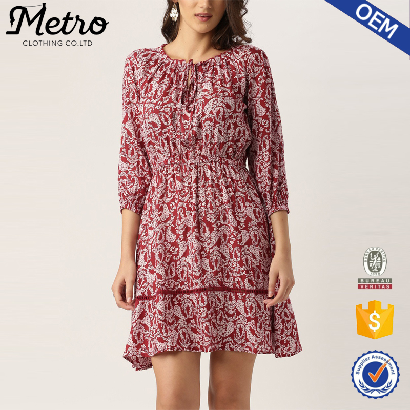 Women Latest Printed Casual Elegant Fit and Flare Dress