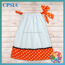 New Style Girls' Dress Wholesale Casual Baby Girl Pillow Dress White Color With Orange Yellow Ruffled Pillow Case Dress Set