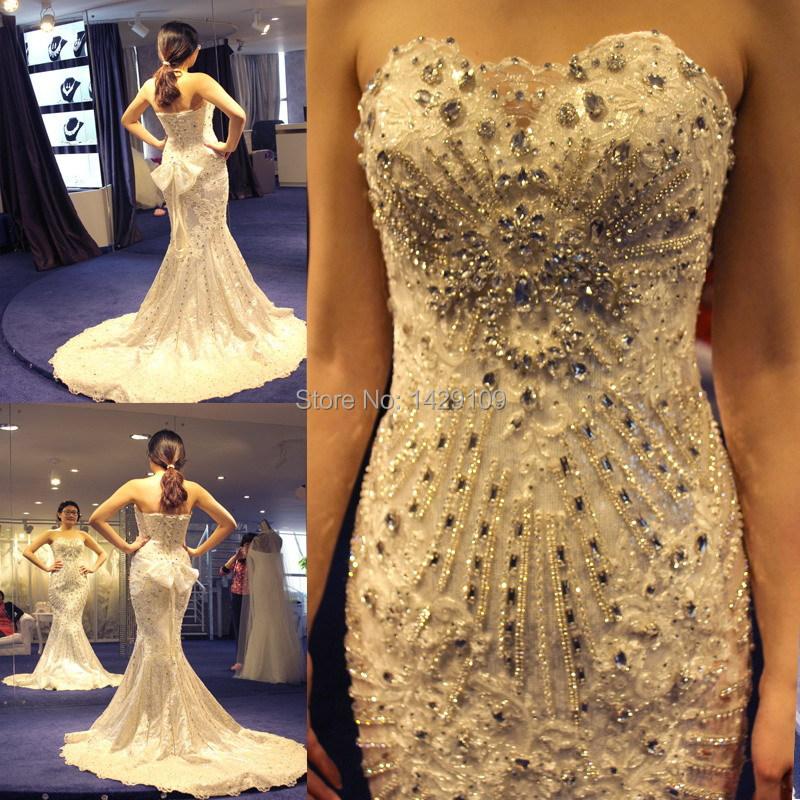 Trailing Wedding Dresses 2015 Ultra luxury Flash Crystal ...