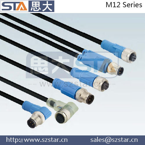 Coaxial M12 A coding 8p male to M12 D coding straight moulding cable connector