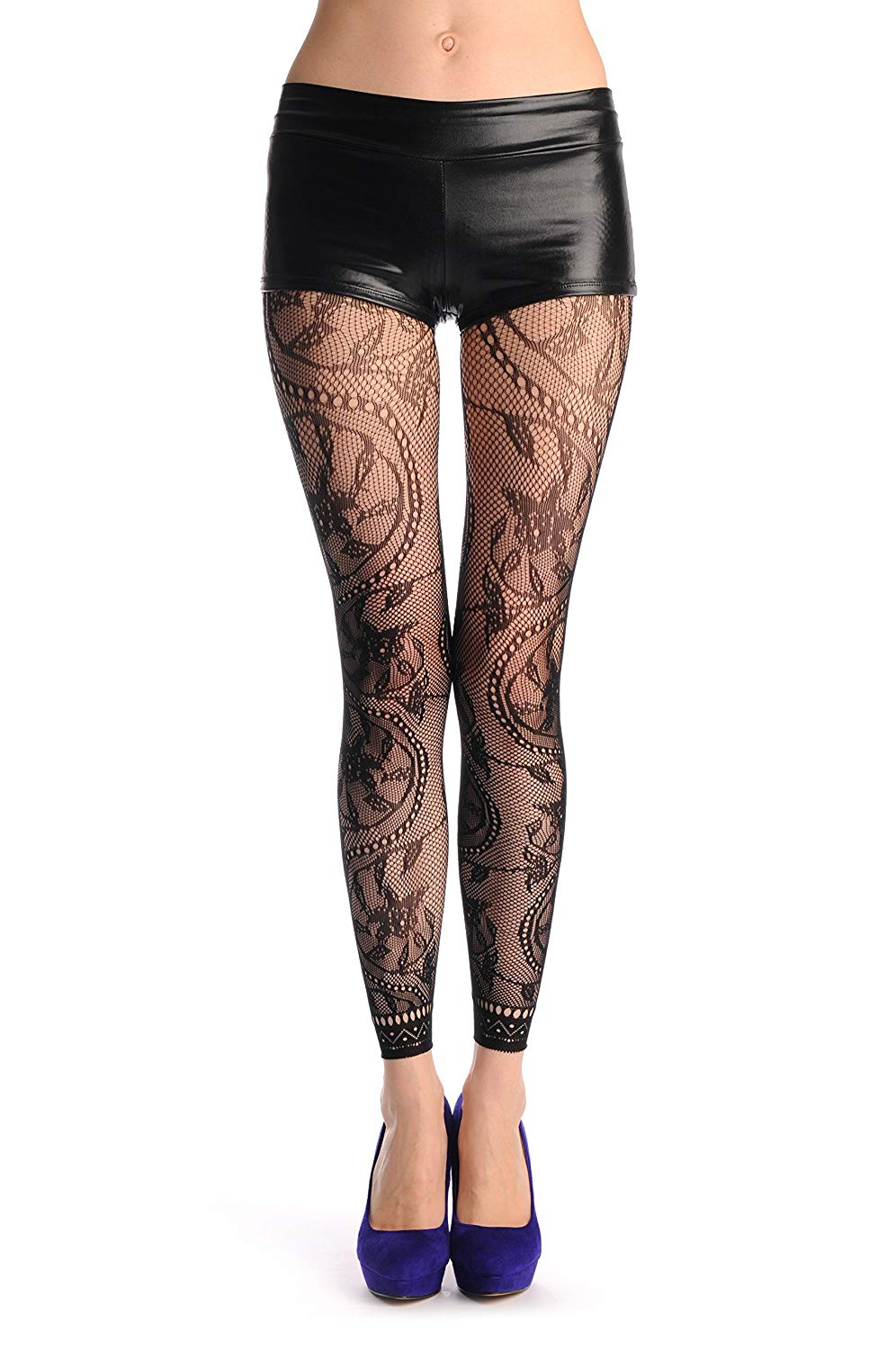 ab50df365a1 Get Quotations · Rounded Pearl Flowers With Lace Trim Footless Fishnet - Tights  Footless