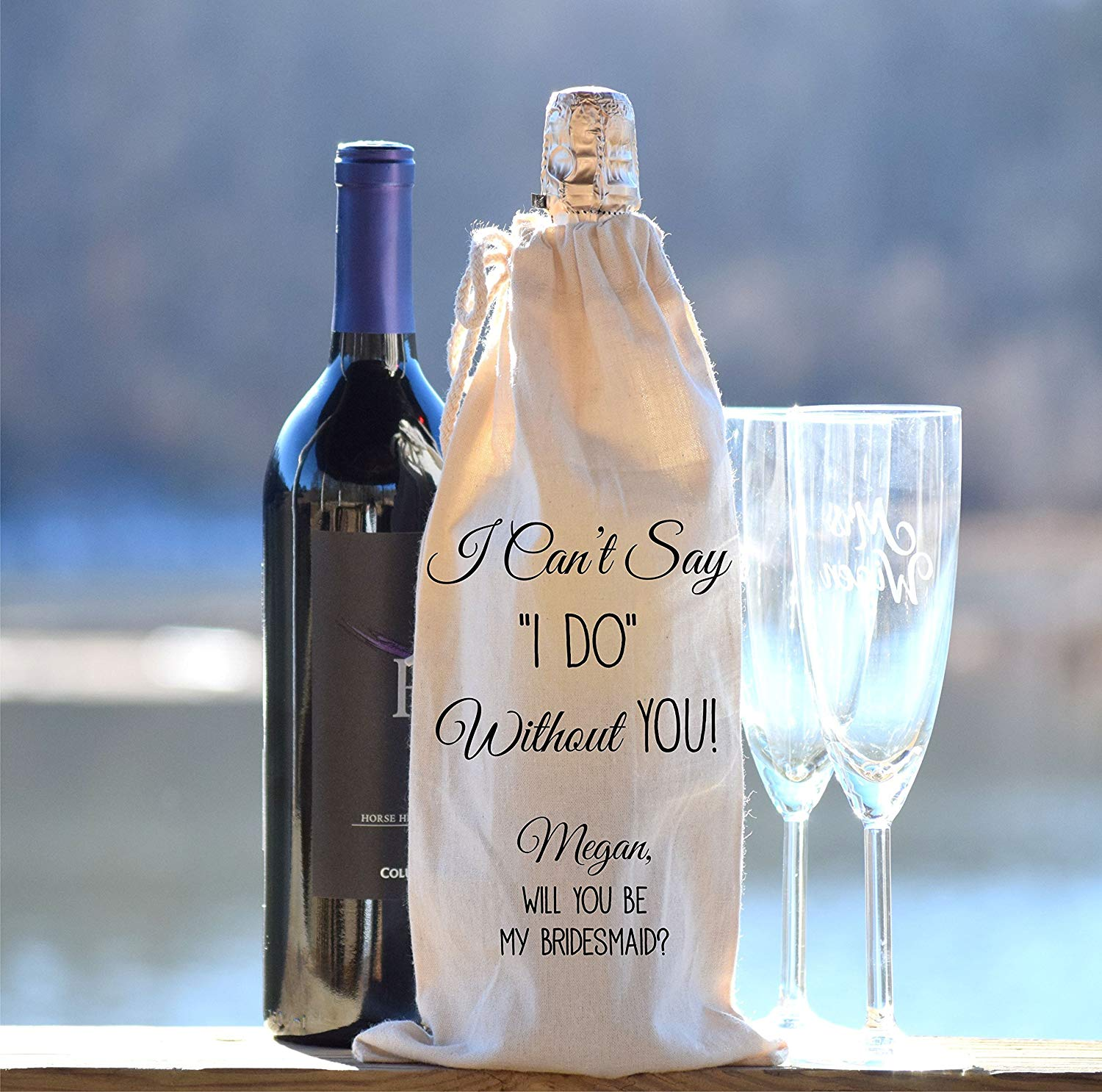 Get Quotations · Personalized Wine Bottle Bag - Champagne Bottle Bag -  Bridal Party Gift - Wedding Party Gift 02be4be9b1