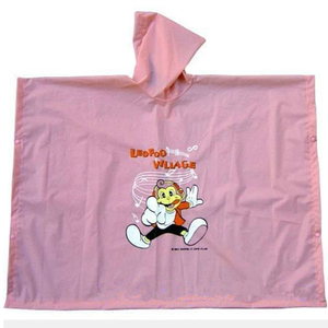 beautiful pink color rain poncho for girl with customized printing