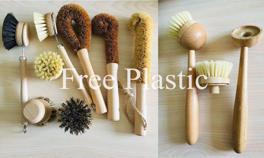 Heißer Verkauf Holzgriff Tampico Faser Küche Coco Sisal Waschbürsten Mini Bambusgeschirr Reinigungsbürste