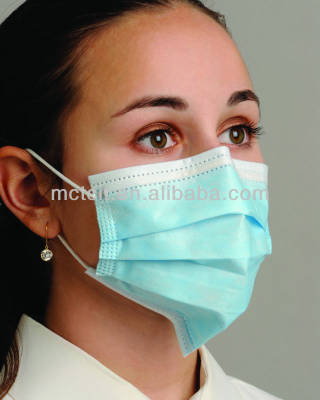 Disposable blue surgical face mask with head loop