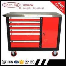 Good quality 6 drawers & 1 door metal tool cabinet/storage cabinet with stainless steel cabinet top
